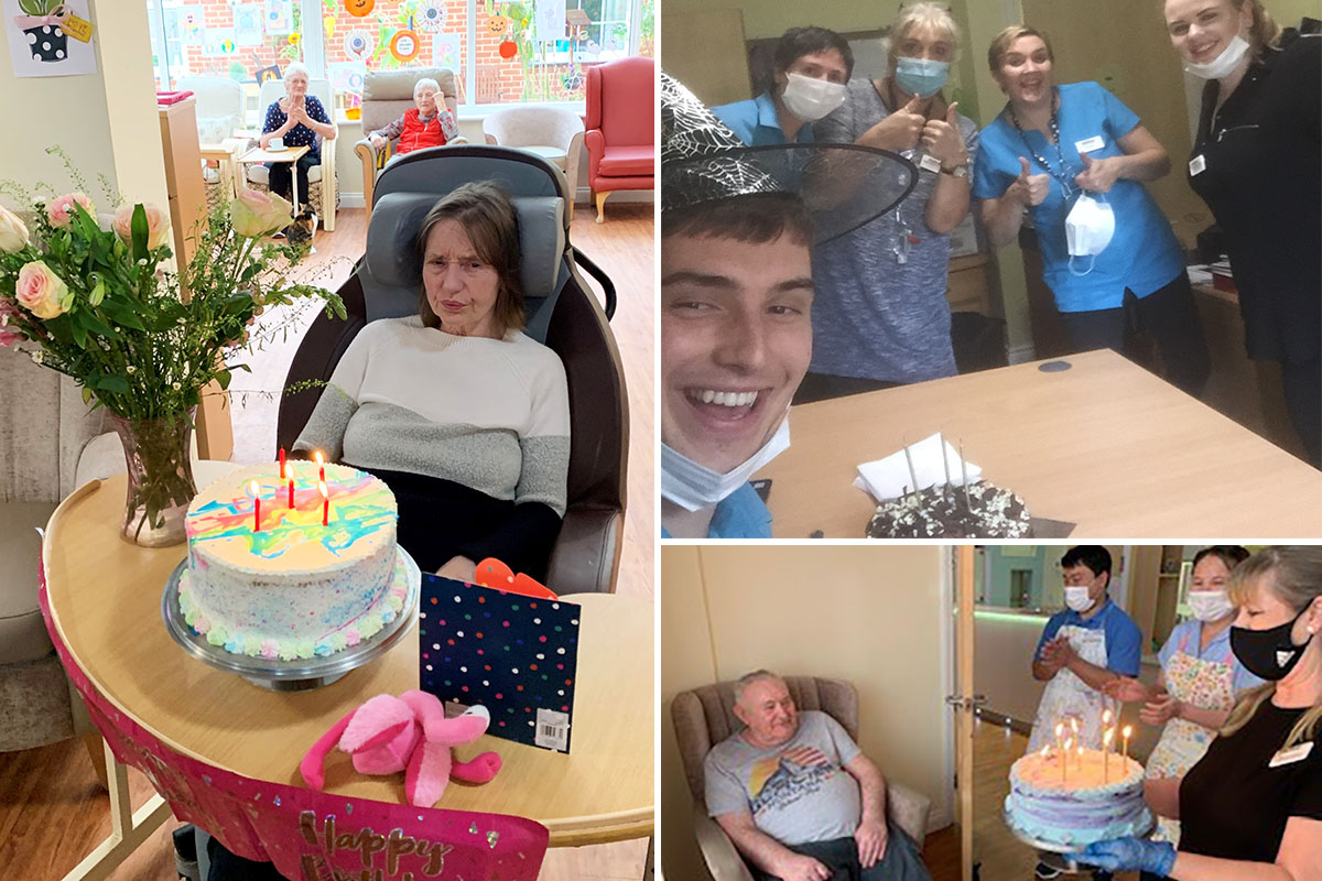 Birthday celebrations with cake at Princess Christian Care Home