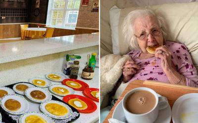 Resident enjoying pancakes at Princess Christian Care Home