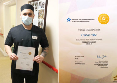 Cristian Pitic with his NVQ certificate