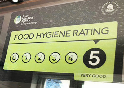 Five star food hygiene rated certificate at Princess Christian Care Home