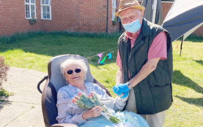 Bill and Jean together in the garden at Princess Christian Care Home