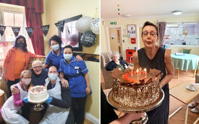 Two Princess Christian Care Home residents with their birthday cakes