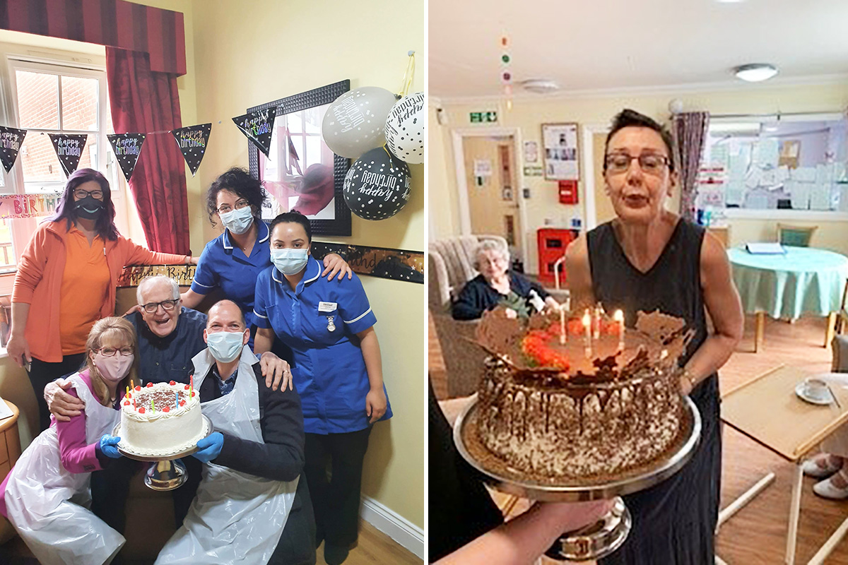 Double birthday celebrations and cake at Princess Christian Care Home