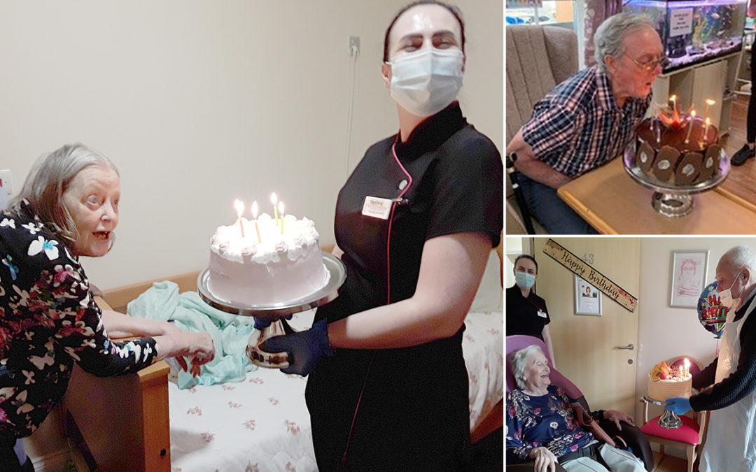 Triple birthday cakes at Princess Christian Care Home