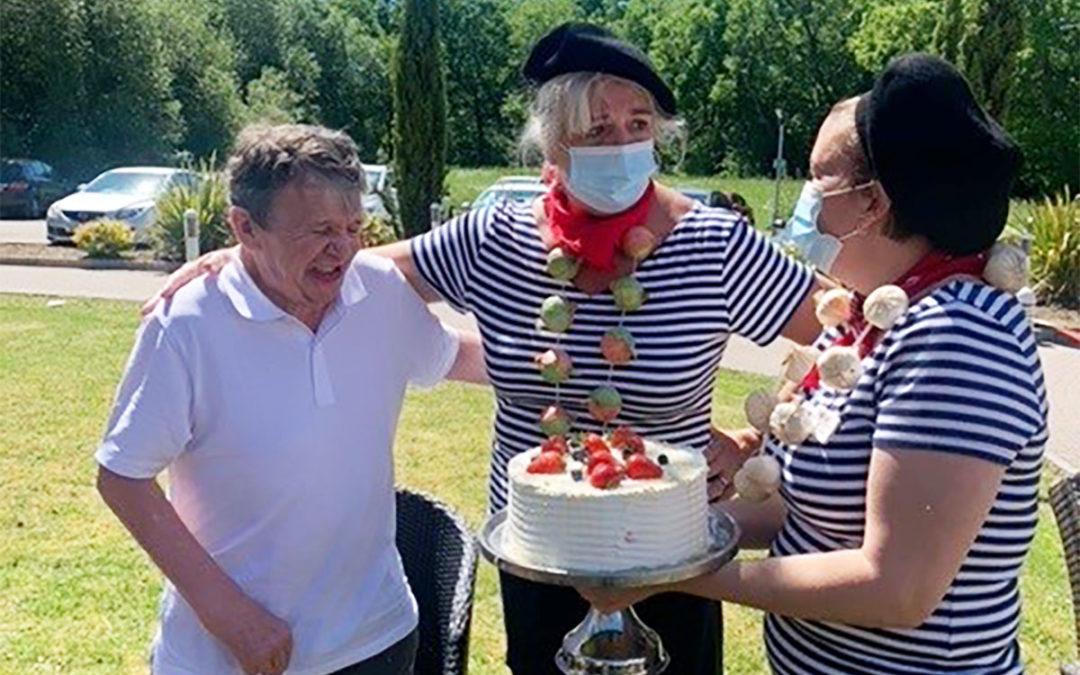 Bon anniversaire to John at Princess Christian Care Home