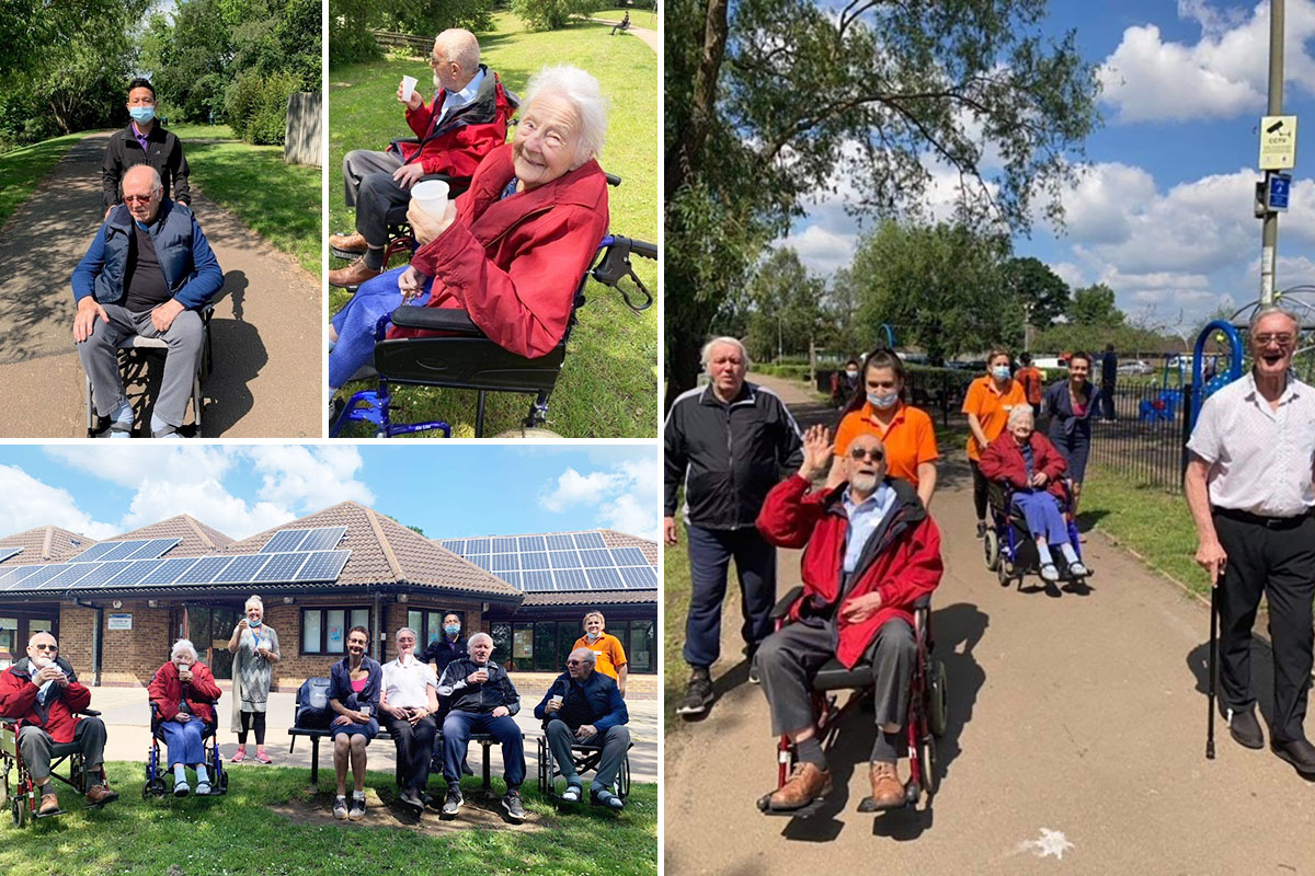 Princess Christian Care Home residents enjoy blue skies at a local park