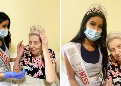 Miss Surrey visiting a resident at Princess Christian Care Home
