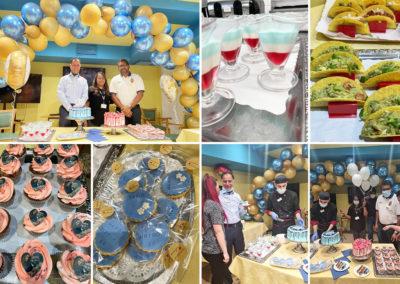 Princess Christian Care Home staff enjoying celebration cakes for a staff birthday and anniversary