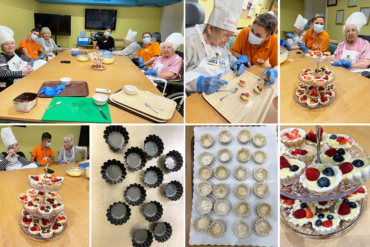 Residents making fruit tarts together at Princess Christian Care Home