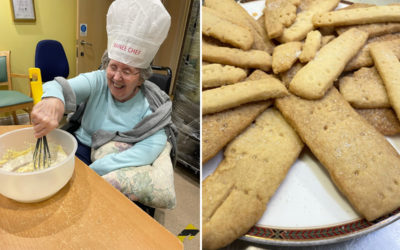 Residents making shortbread with Chef Cosmin at Princess Christian Care Home